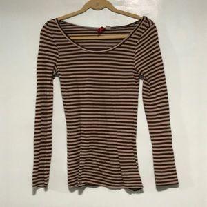 Brown Scope Neck Stripe Long Sleeve